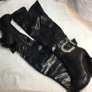 Beyond Shoes - Beyond Brianna Patent Over the Knee Boots